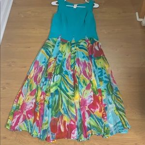 Klozlyne blue and Green Small Multicolored Dress